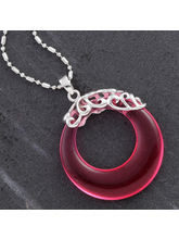 Pink Agate Ring Silver Necklace