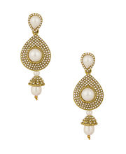 Voylla Gold Plated Tear Drop Earrings Embellished With Delicate Pearl Beads, Drops-SCBOM20069