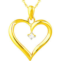 Jpearls Lovely Heart Diamond Pendant