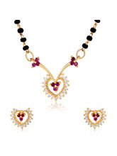 Mahi CZ Collection Gold Plated CZ Mangalsutra Earr...