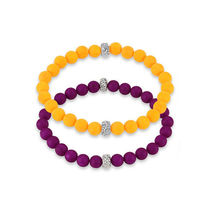 Ratnakar Set Of Two Purple And Orange Coloured Anklets