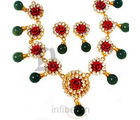 Red Coral Cz Necklace Set