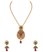 Voylla Gold Plated Pendant Set With Prominent Cz Stones