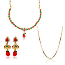Donna Combo Of Alluring Aura Gold Plated Necklace Set & Chain For Women Co1104368G