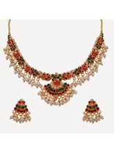 Nisa Pearls Elegant Gold Plated Necklace Set Embel...