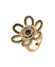 Voylla Gold Plated Floral Ring With Shimmering Cz Stones,...