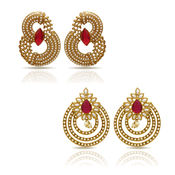 Donna Combo Of Red Ruby Gold Plated Two Pair Of Earrings For Women Co1104348G
