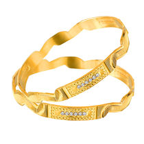 Mahi Gold Plated Haute Fashion Bangles With Crystals for Women BA1105057G, 2.4
