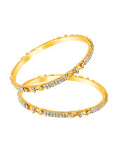 Mahi Gold Plated Suave Bangles with Crystals for Women BA1105031G, 2.4