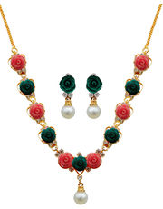 Nisa Pearls Pink & Green Combination Synthetic Coral Necklace- NL666