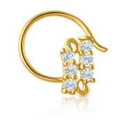 Mahi Gold Plated Parallel Six Star Nosepin with CZ for Women NR1100133G