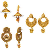 Donna Traditional Ethnic Gold Plated Moon Flower earring combo with Crytsals For Women (CO1104553G)
