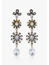 Addons Crystal Studded Pear Drop Earring