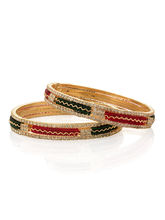 Voylla Pair Of Bangles Featuring Red, Green Beads Flanked By Row Of Cz Crystals-PSJAI24097, 2 8