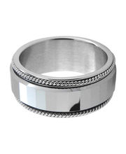 Inox Jewelry Silver Stainless Steel And Tungsten Carbide High Shine Spinner Ring For Men, 7