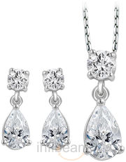 Gift Peora Sterling Silver Pendant Earrings Set PS1196