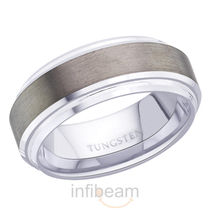 Peora Tungsten Carbide MenS Ring With Side Grooves Ptb678