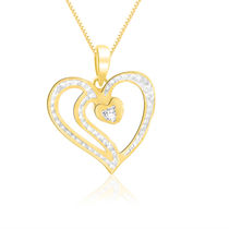 Sparkles 18Kt Gold And Real Diamonds Heart Shaped Pendant P10054