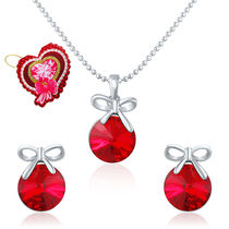 Mahi Red Swarovski Elements with Heart Shaped Card Pendant Set for Women NL5104080RRedCd