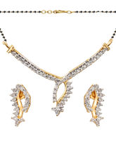 Shriya Silver Alloy Mangalsutra Set With Earring S...