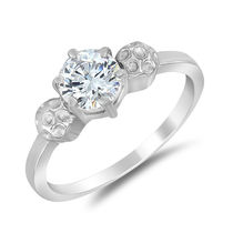 Mahi Rhodium Plated Absolute Classic Ring With Swarovski Zirconia for Women FR1105017R, 10