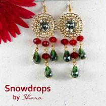 Shara Handcrafted Jewels Snowdrops Earrings (Green)