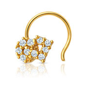 Mahi Gold Plated Enchanted Paradise Nosepin with CZ for Women NR1100134G