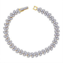 Peora Diamonds Gold Plated Bracelet With Fold Over Clasp PB3G
