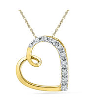 Ishis 18K Gold And Diamond Heart Pendant-9614, White Gold