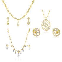 Oviya Combo Of Gilded Gold Plated Two Necklace Sets For Women Co1104389G