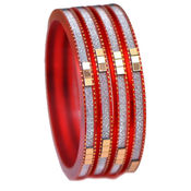 Ratnakar Set Of 4 Vibrent Red Bangles, 28