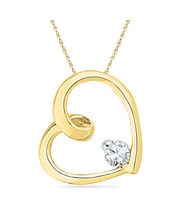 Ishis 18K Gold And Diamond Heart Pendant-8089, Yellow Gold