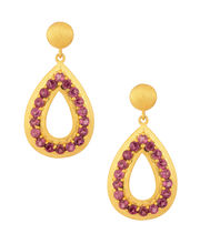 Voylla Graceful Drop Shaped Earrings With Gold Rhodium Pink Stones