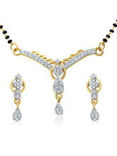 Mahi Gold Plated Love Lock Pendant Set With Cubic ...