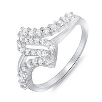 Mahi Rhodium Plated Arched-Glitter Ring With CZ Stones for Women FR1100080R, 14