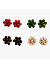 Nisa Pearls Floral Stud Earrings with Shiny Beads