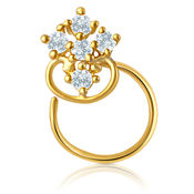 Mahi Gold Plated Bird of paradise Nosepin with CZ for Women NR1100131G