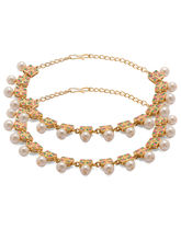 Voylla Colorful Pearl Beaded Anklets in Golden Finish