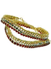 Pack of 2 Traditional Handcrafted Kundan Brass Work Payal Anklets