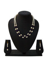 Nisa Pearls Gold Plated Cz Necklace Set With Class...