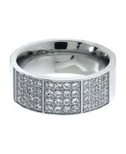Inox Jewelry Silver Stainless Steel Bling Collection With Rows Of Small American Diamonds Ring For Men And Women, 10