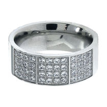 Inox Jewelry Silver Stainless Steel Bling Collection with Rows of Small American Diamonds Ring for Men and Women