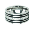 Inox Jewelry Silver Stainless Steel with Black IP Plated Bands and Small American Diaminds Ring for Men and Women, 10