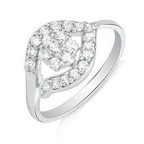 Mahi Rhodium plated Winsome Vine Finger Ring with CZ for Women FR1100650R, 14