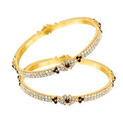 Mahi Gold Plated Royal Splendor Bangles With Crystals for Women BA1105023G, 2.8