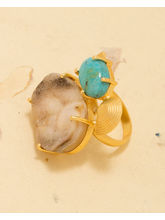 Voylla Ethnic Gold Plated Ring Adorn With Druzy Stones, adjustable, gold