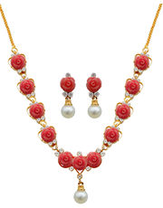 Nisa Pearls Pink Synthetic Coral Necklace- NL665