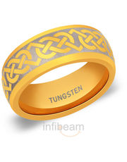 8 Mm Tungsten Carbide Gold Tone Band Ring Ptr638