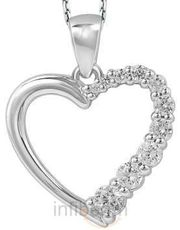 Beautiful Heart Pendant in Cubic Zircon & Sterling Silver