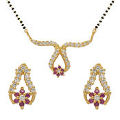 Mahi Gold Plated embellished Gold Mangalsutra Set with CZ Stones For Women NL1103504G